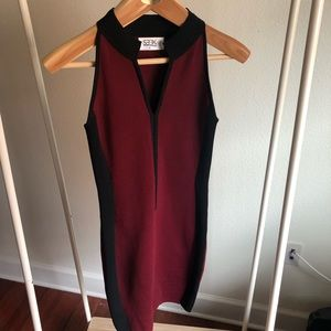 LF Seek the Label Bodycon Mini Dress Med Maroon
